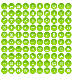 100 winter sport icons set green circle vector
