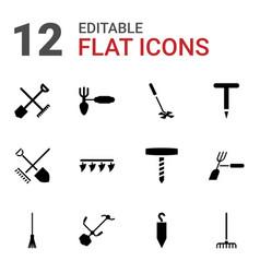 12 rake icons vector