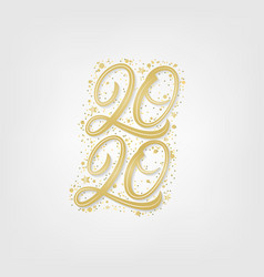 2020 golden hand written lettering numbers vector image
