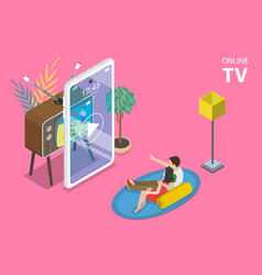 3d isometric flat concept mobile smart vector image