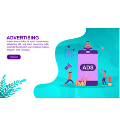 advertising concept with character template for vector image