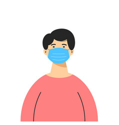 an asian man wearing a medical mask isolated on vector image