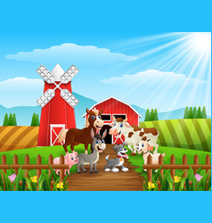 Animals meet in front of cattle warehoouse vector