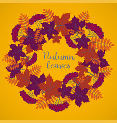 autumn background colorful floral frame with vector image