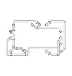 banner is entangled in pipes with flanges vector image