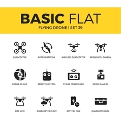 Basic set of Flying drone icons vector image