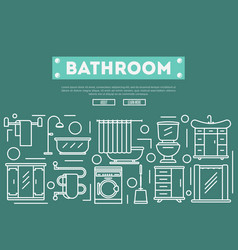 Bathroom renovation poster in linear style vector
