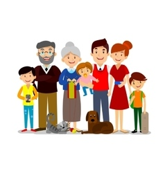 Big happy family parents with children father vector