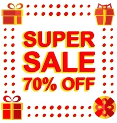 Big winter sale poster with SUPER SALE 70 PERCENT vector image