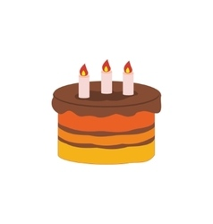 Birthday cake flat icon vector image