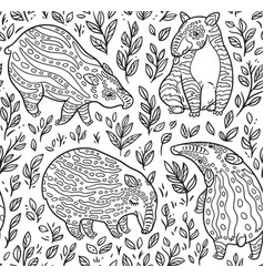 black and white cartoon tapirs seamless pattern vector image