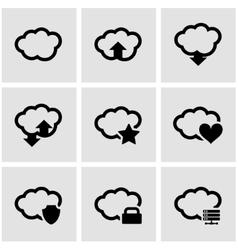 Black cloud icon set vector
