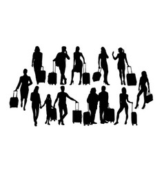 black silhouettes travelers with suitcases vector image