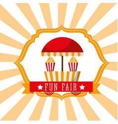Booth popcorn food fun fair retro label vector