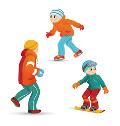 Boys ice skating snowboarding playing snowballs vector