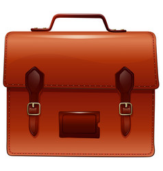 Brown briefcase with nametag case vector