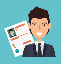 Businessman character avatar with cv icon vector
