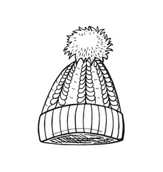 cable pompon hat vector image