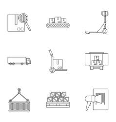 Cargo icons set outline style vector image