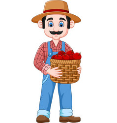 cartoon farmer holding a basket of apples vector image