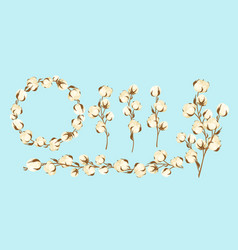 cartoon flat cottonseed branch with white textured vector image
