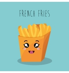 cartoon french fries food fast facial expression vector image