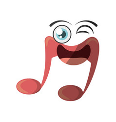 Cartoon music note symbol wink vector