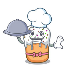 Chef with food easter cake mascot cartoon vector