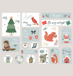 Christmas set hand drawn animals and elements vector