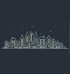 city landscape template thin line night city vector image