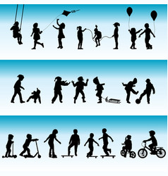 collection silhouettes children playing vector image
