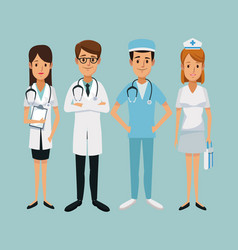Color background hospital medical staff team vector