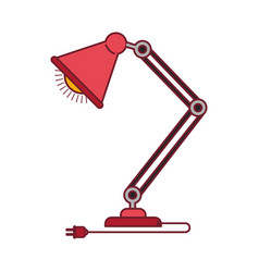 Colorful graphic of modern desk lamp with dark red vector