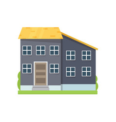 colorful grey house with yellow roin big city vector image