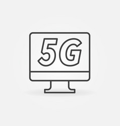 computer monitor with 5g icon in thin line vector image