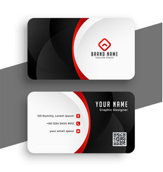 corporate modern business card in red theme design vector image
