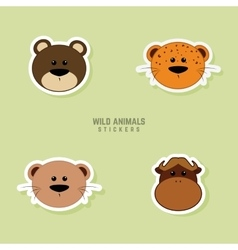 Cute animals Faces vector image