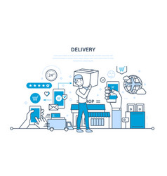 cycle of ordering purchase of goods delivery vector image