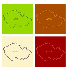 czech republic set detailed country shape with vector image