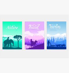 Different riders of the world brochure vector