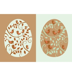 easter eggs with bird vector image