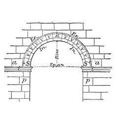 Extradosed arch curve vintage engraving vector