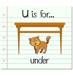 Flashcard letter U is for under vector