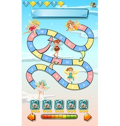 Game template with cute fairies vector