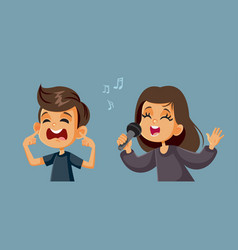 Girl singing next to a boy covering his ears vector