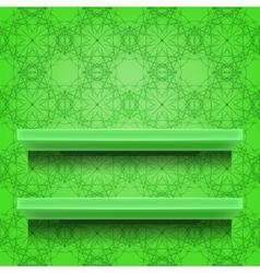 Green Shelves on Ornamental Background vector