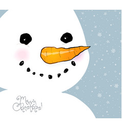 Greeting card with cute smiling snowman vector