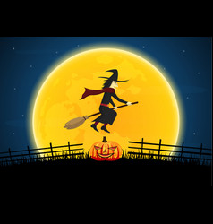 halloween witch on broom moon pumpkin graveyard vector image