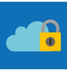 Hand hold protected concept padlock cloud vector
