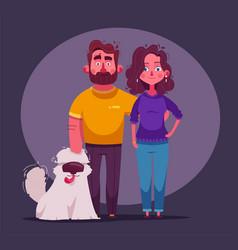 happy couple in love character design cartoon vector image